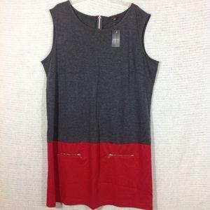 Sleeveless Plus Size Dress Faux Pockets